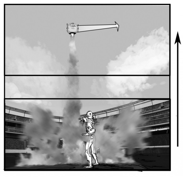 Oblivion Storyboard by Phillip Norwood. Courtesy of Universal Pictures.