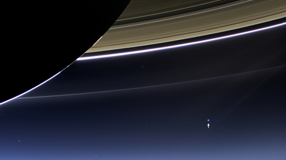 NASA's Cassini spacecraft captures Saturn's rings and our planet Earth and its moon in the same frame. Image Credit:  NASA/JPL-Caltech/Space Science Institute